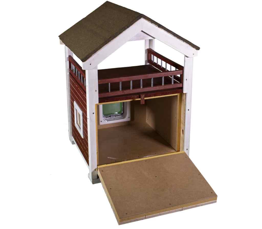Katzenhaus MOMY, hochwertige Katzenhütte hinten offen