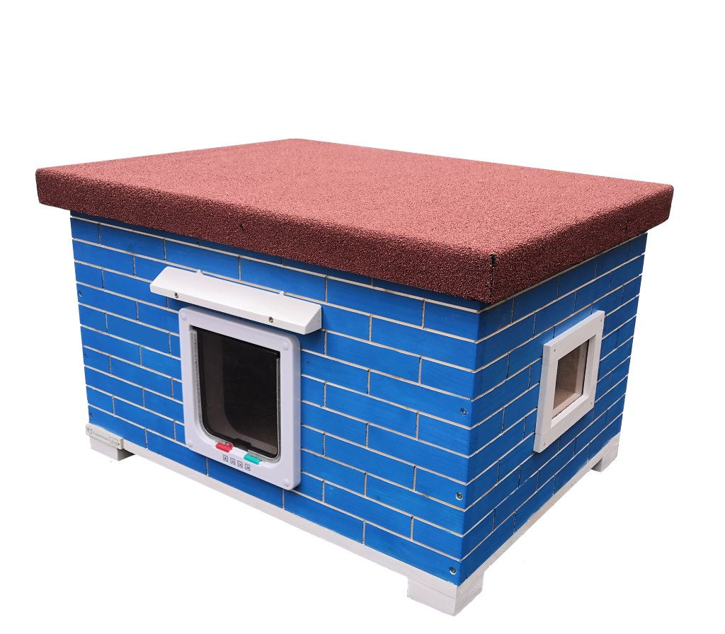 Katzenhaus XXL für 2 Katzen Groß blau