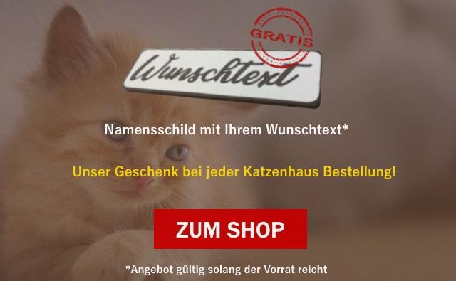 Katzenhaus Namensschild Gratis