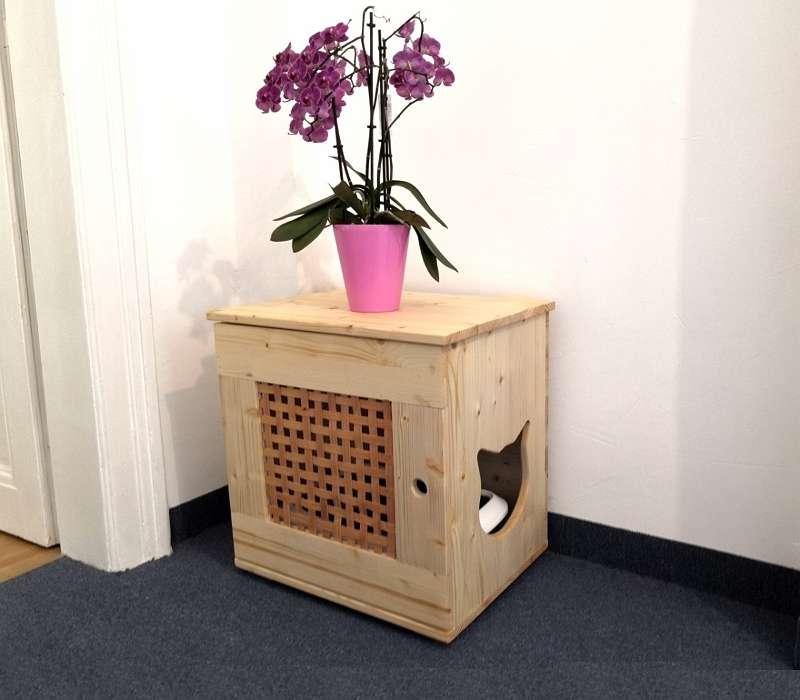 Katzenklo aus Holz für Wohnzimmer
