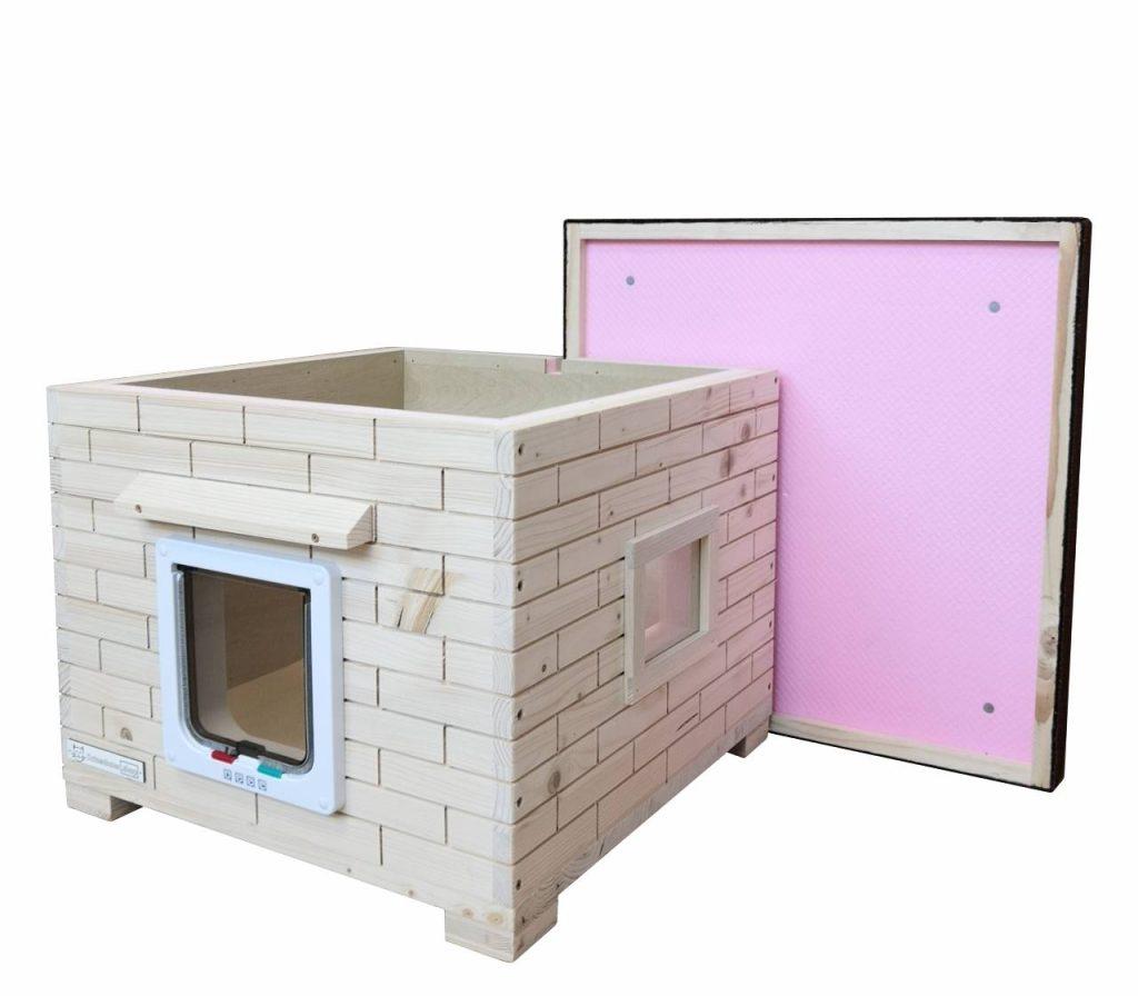 Katzenhaus Mao Unbehandelt aus Holz Dach offen