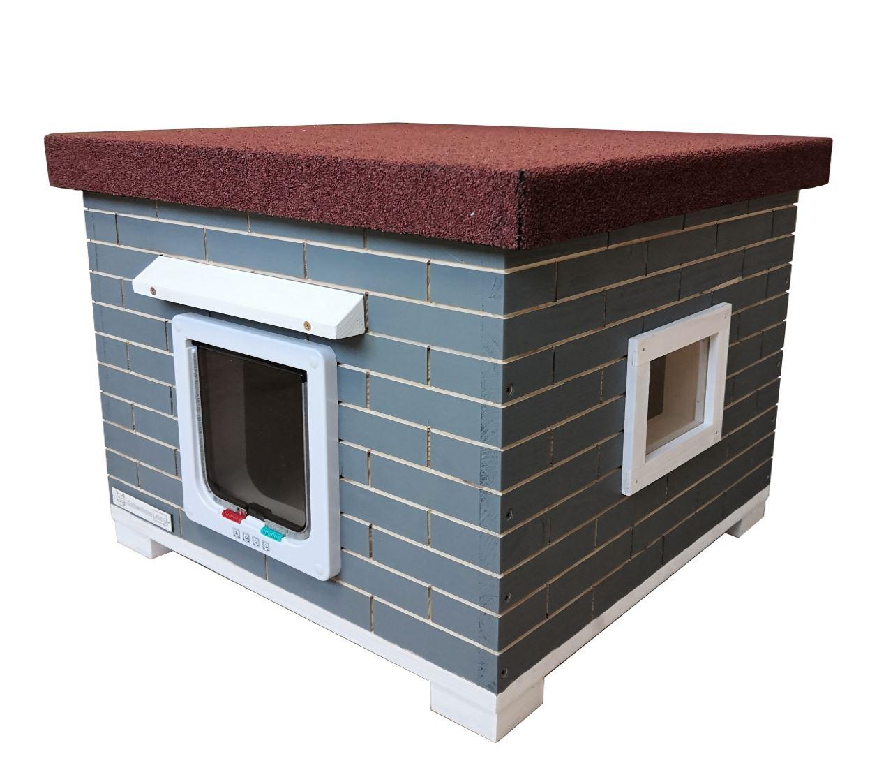 Katzenhütte MAO Grau, vollisoliert mit Klappe